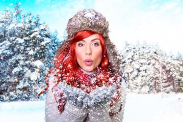 attraktive frau im winter