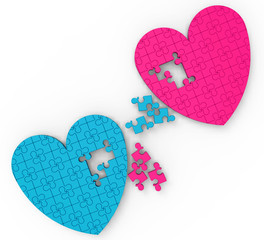 Two Hearts Puzzle Shows Romance And Commitment