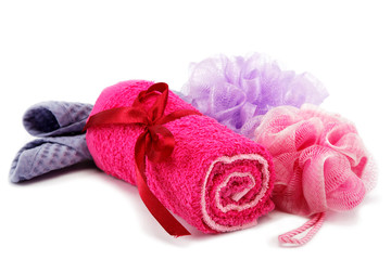 Personal hygiene items. Accessories for sauna or spa isolated on