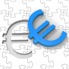 Euro Puzzle Showing Europe Finances