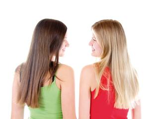 Blonde und braune lange Haare