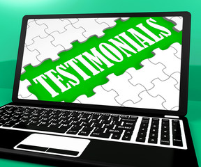 Testimonials Puzzle On Notebook Shows Online Credentials