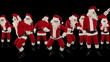 Bunch of Santa Claus Dancing ,Christmas Holiday , Alpha Matte