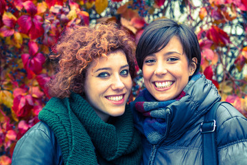 Two Beautiful Young Women Outside on Autumn