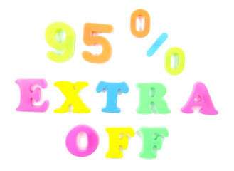 95% extra off written in fridge magnets