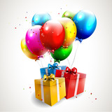 Fototapety Flying colorful balloons with gifts