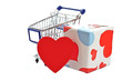 Shopping cart full of chocolate candy and big red heart