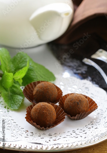 chocolate candy  truffle with fresh mint