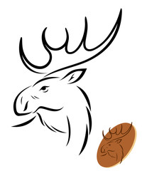 Isolated moose illustration