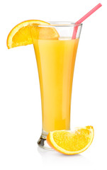 Orange juice in a tall glass