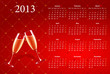 Vector red calendar 2013 with champagne