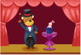 bear magician showing  on stage