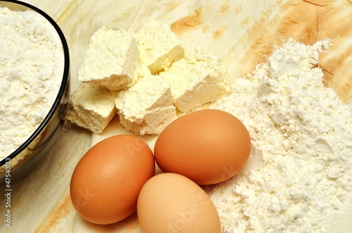 Cottage cheese, eggs, flour
