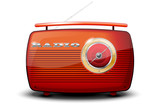 Red vintage radio on white background - vector file