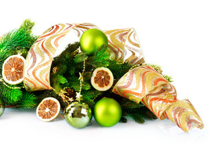Christmas and New Year Decorations with Baubles and Ribbon