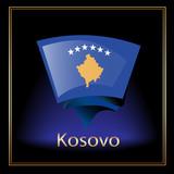 Flag of Kosovo on the black background poster