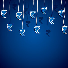 rupee currency symbol hang in blue background