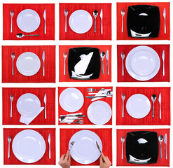 Collage- forks,knifes,spoons on red background.