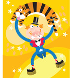 A tiger and a man in Circus