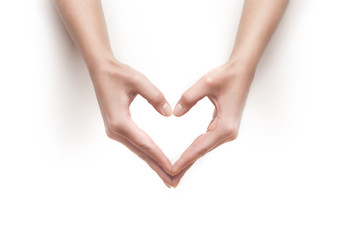 woman hands show heart gesture