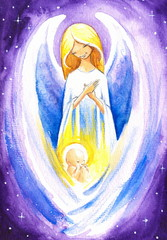 Angel protect a baby Jesus.Watercolors.
