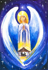 Angel protect a Holy Family.