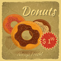 Donuts on grunge background
