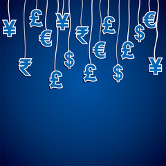 currency symbol of the different countries in blue background