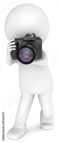 3D little human character The Photographer with a SLR Camera.