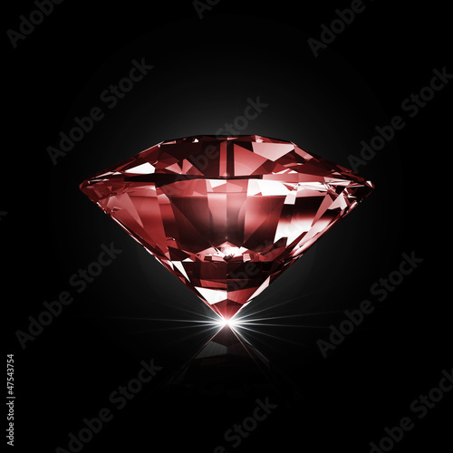 Red Diamond on black background with glowing rays