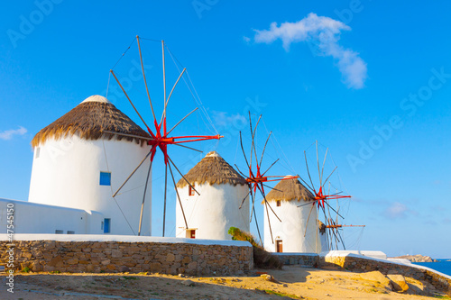 Plexiglas Athene Windmills with blue sky Mykonos Island Greece Cyclades