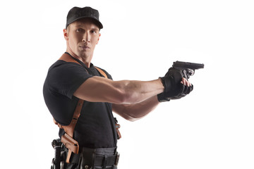 Powerful police officer with gun