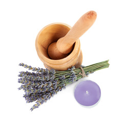 Mortar and a bouquet of lavende