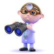 Doctor looks through binoculars