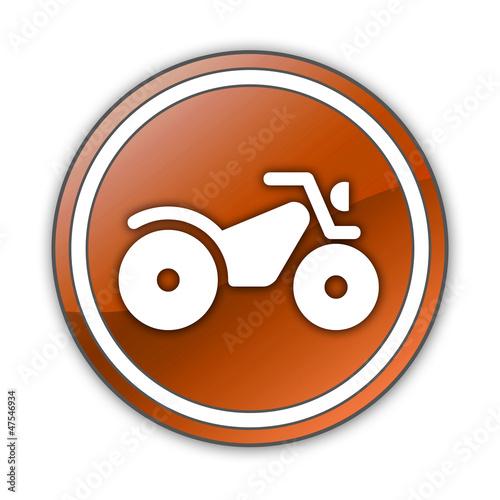 "Orange Glossy Button ""All Terrain Vehicle Trail"""