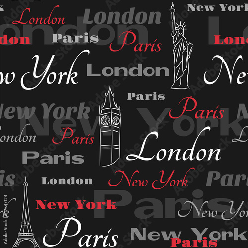 Black seamless pattern with popular cities