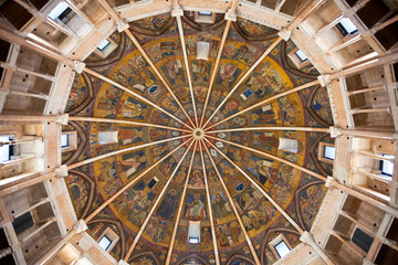 painted ceiling of The Baptistery of Parma
