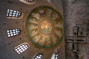Ceiling Mosaic of the Arian Baptistery and ancient christian cro