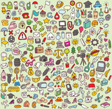 Fototapety XXL Doodle Icon Set : collection of small  icon illustrations