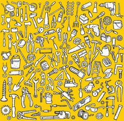 Tools Collection:  illustrations of  tool icons in bw