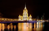 night view of Stalin's vysotka in Moscow
