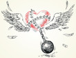Winged heart fettered fetters. Hand-drawn. Vector illustration
