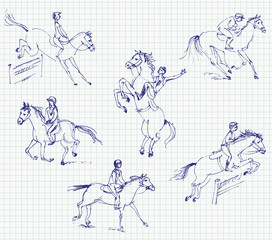 Jockey riding a horse. Set. Hand-drawn