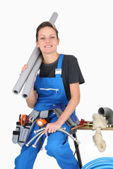 plumber woman with tools