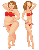 Fat and thin woman, vector illustration