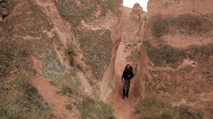 Adult male walking through Cappadocia