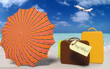 Maletas y Sombrilla en la Playa