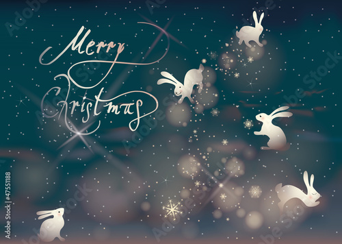 Merry Christmas / Rabbits make snowflakes on the night sky