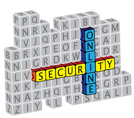 Illustration of word online security using alphabet(text) cubes.