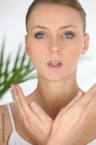Closeup portrait of a woman in a beauty spa